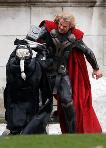 Chris looking badass with his red Thor cape :D