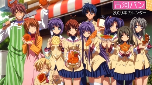 clannad....nagisa with her family and frndzzz :D