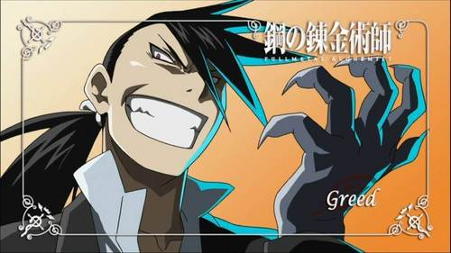 Greed from Fullmetal Alchemist/Brotherhood. He is also one of my kegemaran Anime characters/anti-heroes.