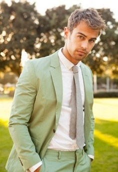 Theo in a mint green suit<3