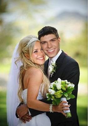 Matthew holding Rachel as a married couple <33333
