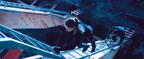 Thailene from up above as they climb up a ferris wheel from a scene in Divergent<3