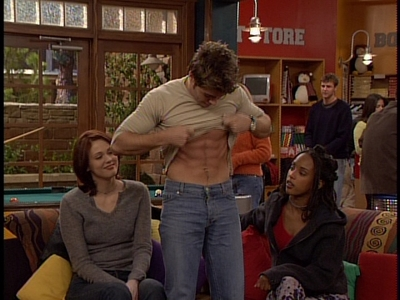 Matthew looking down at his abs :P