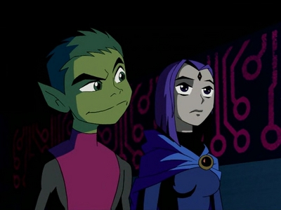 NOOOO. Robin belongs with Starfire! I LUV Raven with Beast Boy!!! Robin and Raven? Fat chance!