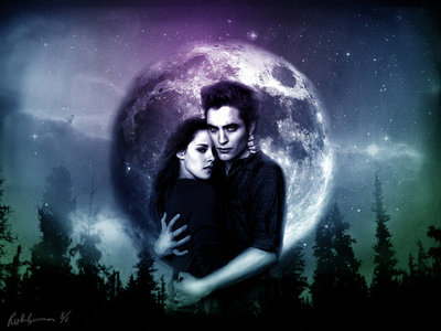 Edward and Bella wallpaper,with trees in the background<3