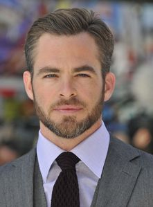 Chris Pine with a few grey hairs on his beard and on his temples<3