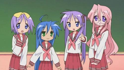 Konata, Kagami, Tsukasa and Miyuki - Lucky Star