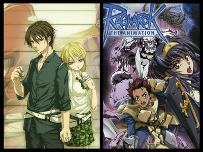 Btooom!! and Ragnarok: The Анимация are two that haven't been mentioned. (I have not watched Ragnarok myself, but have heard it is based off a video game and has V.G. terminology)