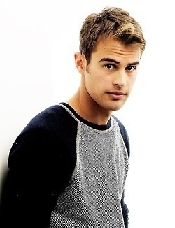 my yummy Theo in a black and grey shirt<3