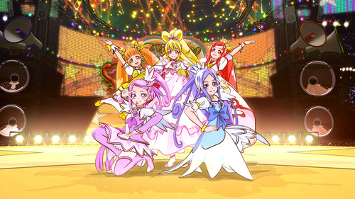 I think Doki Doki precure but Cure 心 (the leader takes to much of the spotlight I hate her so much) my 秒 is Heartcatch precure then Smile precure [the one in the blond hair is cure 心 besides it is not fair that she gets three transforms