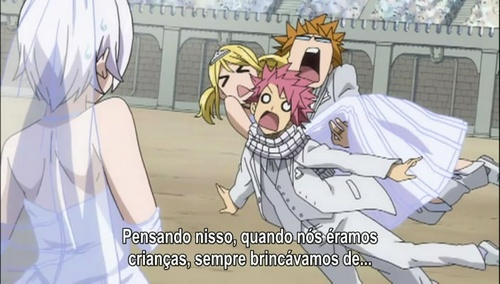 Haha, I loved this part because it was so funny, they all had to find partners and Loki grabbed Lucy but then ran into Natsu which caused Lucy to fall ontop of Natsu(: Oh and sorry the subtitles are in Spanish but it says that when we were kids we always said..