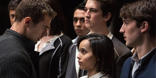 my gorgeous Theo in a scene from Divergent with Zoe Kravitz,Miles Teller and Ben Lloyd Hughes<3
