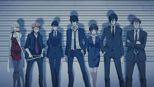 Psycho-Pass is an oddly good one. It has dark secrets and stuff. It doesn't have vampires though. It has blood.