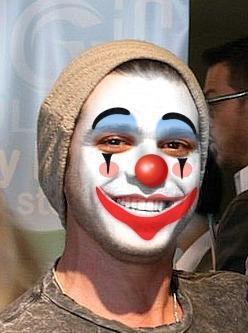 Matthew wearing clown make up :D