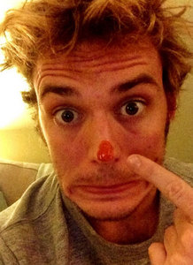 Sam Claflin with a funny expression on his face<3