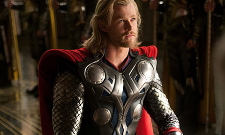 Chris Hemsworth in costume as Thor<3