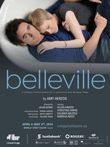 """Allan Hawco with a girl (lady - Christine Horne). Poster for """"Belleville""""."""