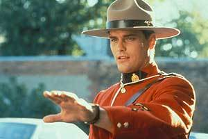 """Paul Gross from """"Due South"""" wearing his red Mountie uniform."""