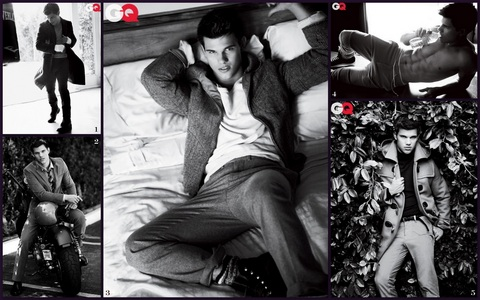 a collage of b&w pics of Taylor Lautner<3