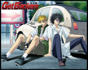 Getbackers u can see friendship with 2 powerful boys Ginji Amano (The Lightning Emperor) & Ban Miedo (The Jagan Master)
