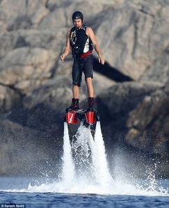 Leo testing out a cool device...water jetpacks<3