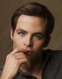 Chris Pine, Not the best pic of his eyes, but feel free to browse Google Обои of his mysteriously blue/gray eyes