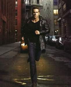 Ryan Reynolds wearing a leather jacket<3