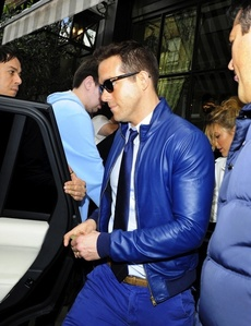 Ryan in a cool blue leather jacket<3