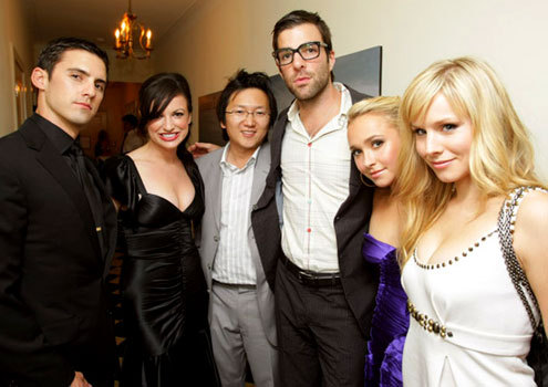 """Zack with the cast members of """"Heroes"""""""