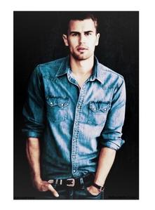 my yummy Theo in a blue denim shirt<3