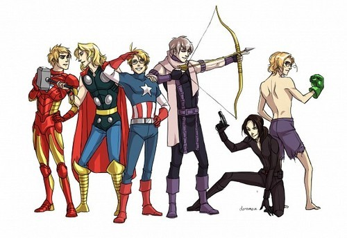 I want to see the Allies from Hetalia in the Avengers . America - Captain America Canada - The Hulk Russia - Hawkeye China - Black Widow England - Iron man France - Thor Von the way whoever did this picture below is a genius .