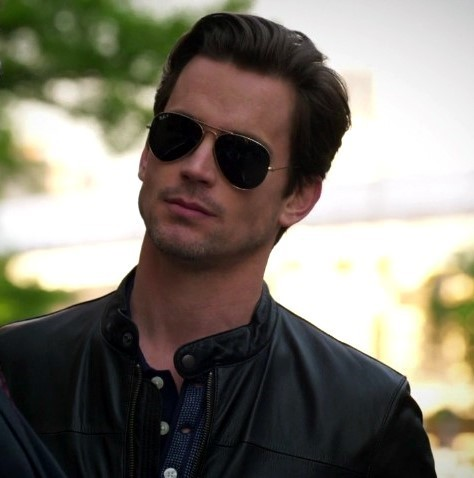 "Neal, for once not wearing a tailored suit, but a damn fine leather koti, jacket instead (""Dentist of Detroit"") <33333"