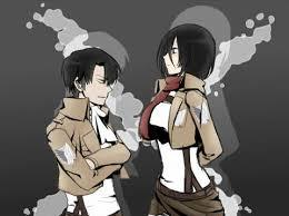 "If they are related, I won't be too surprised... they do both possess the near fearless and agressive fighting skills, with the acception of Levi's reverse blade-holding technique and attack, both have the same steely-eyed look when they took on The Female Titan in the Forrest of Giant Trees. Lastly, like Levi, Mikasa can be blunt and vorwärts-, nach vorn in what she says... she can call Levi ""Shorty"" and get away with it!"