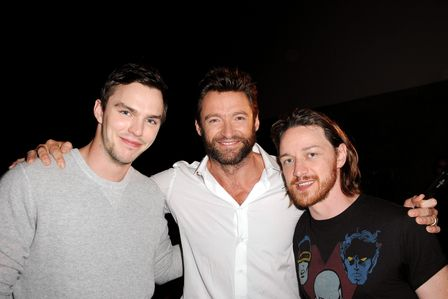 James McAvoy with co-stars Nicholas Hoult and Hugh Jackman :)