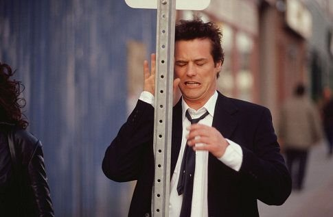 "Paul Gross in a scene from ""Men with Brooms"" walking - well somewhat walking."