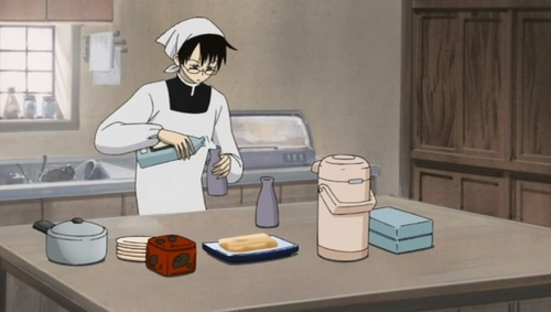 Watanuki (XXXHolic) preparing a meal including the sake (Yuko's পছন্দ beverage) for his employer Yuko