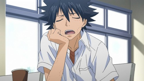 """Touma Kamijou from To aru majutsu no index ~He is very unlucky and was called a plague when he was young... The reason for his bad luck is his imagine breaker, an unknown power that can negate any type of magic, ability অথবা anything out of the ordinary so even good fortune gets negated XD He's very catchphrase is """"Fukou da!"""" অথবা """"Such misfortune"""" in english"""