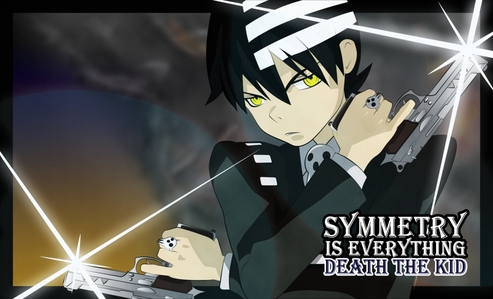 Death the Kid (Soul Eaters) Black Hair Golden Eyes Booooooooooooooooooooooooooy........!!! well i have to tell he have white Design on his hair.prooving he is a master of symmetry...he he ehe he