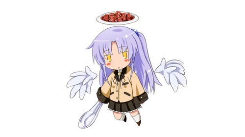Kanade Tachibana (Angel Beats!) with her 最喜爱的 food/meal/dish Mapo Tofu. She must really love/enjoy hot, spicy foods just like I do here :)