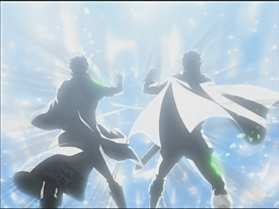 The most epic Fist bump I've ever seen.... Gintoki and the Leukocyte King