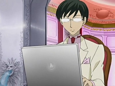 Kyouya Ootori (Ouran High School Host Club) does that quite often especially to and on the Ouran Host Club