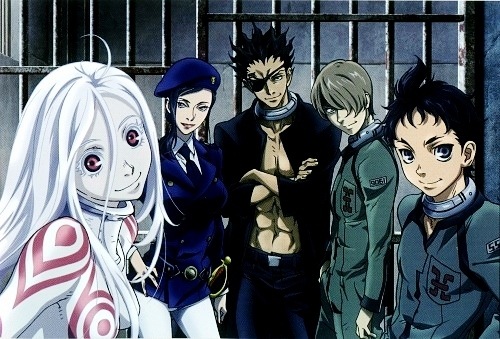 hm, would Deadman Wonderland count? Nobody ever fangirls about that Показать :u