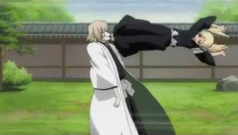 Kisuke Urahara (Bleach) Kisuke taking Hiyory's bloody hit............he he eh eh