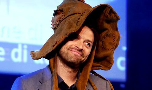 Misha wearing the Sorting Hat!