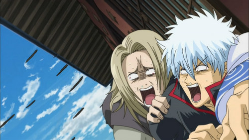 Gintoki and Toujo from Gintama ~Their freaking out cause hundreds of monkeys are throwing shit at them XD