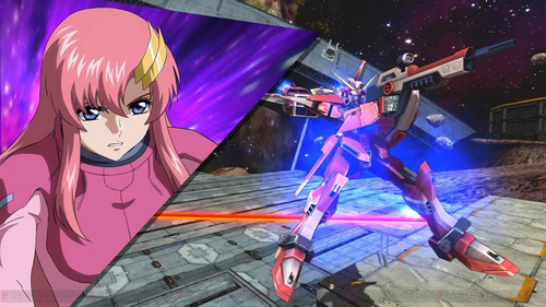 Lacus Clyne from Gundam Seed. (The image comes from Mobile Suit Gundam: Extreme Vs. ম্যাক্সি Boost, one of those games where she can actually fight দ্বারা herself, unlike the anime)