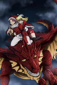 Here's a عملی حکمت Christmas پرستار art of Natsu and Lucy with Igneel.