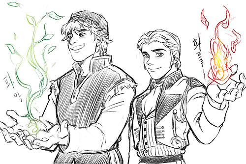 Who knows? It could happen! She'd probably have 花 powers 或者 something sweet and innocent like her character. I think it would be really nice if Hans had powers, too! 火, 消防 power as everyone depicts him having. So, in this picture, everything that Kristoff creates, Hans' destroys! >:D