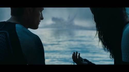Katniss tells Peeta that she cares about him. She needn't tell more, her eyes showed how much important he was for her. they've kissed few times before, but this scene's halik was so passionate and romantic. It was so real. it's my fav scene from the movie