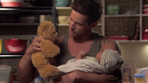 Dan Ewing as Heath with baby Harley! (And he's leaving :( )